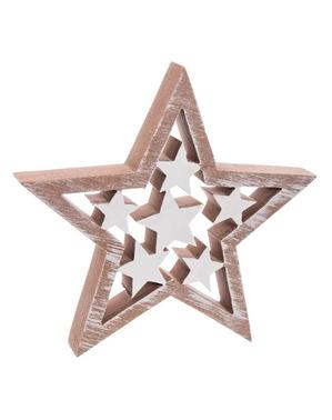 Estrela natalícia de madeira
