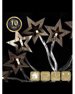 Festone luminoso con stelle di legno