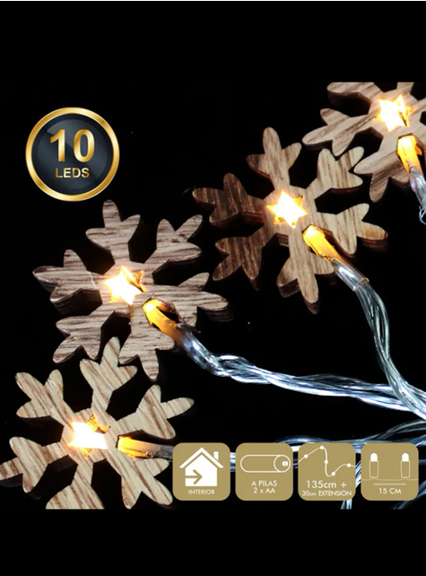 Guirnalda luminosa de copos de nieve de madera