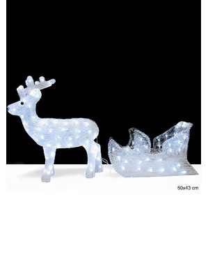 Christmas reindeer and sled with lighting