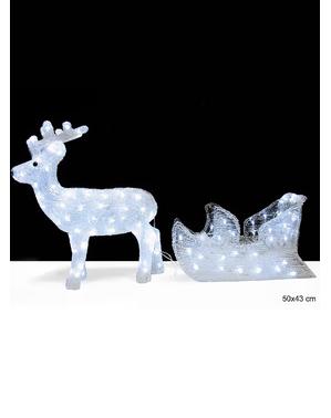 Renna luminosa natalizia con slitta