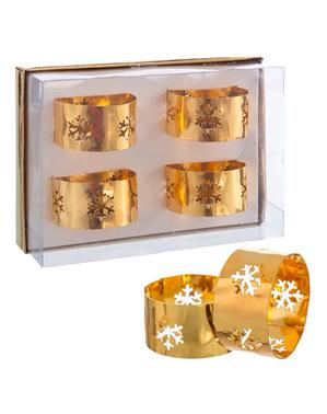 4 argolas para guardanapos com flocos de neve dourados