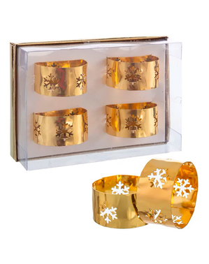 4 napkin holder with golden snowflakes