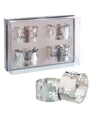 4 servilleteros con copos de nieve plateados