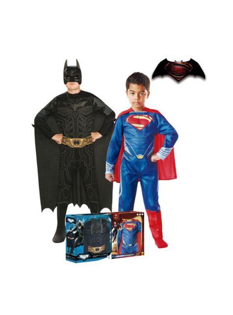 Cofre de disfraces Batman y Superman para niño