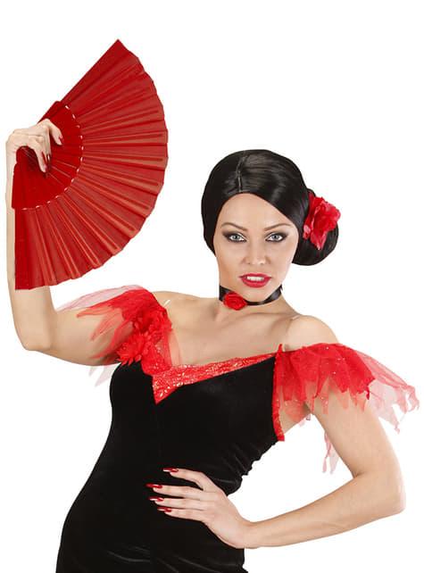Abanico rojo en tela - para tu disfraz
