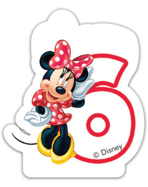 Kaarsje nummer 6 Minnie Mouse