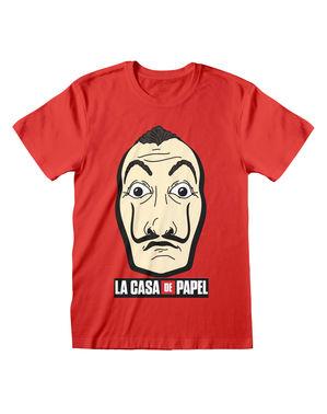 """Червена тениска на """"Хартиената къща"""" за възрастни"""