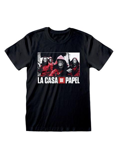 Money Heist T-shirt volwassenen in zwart met de groep