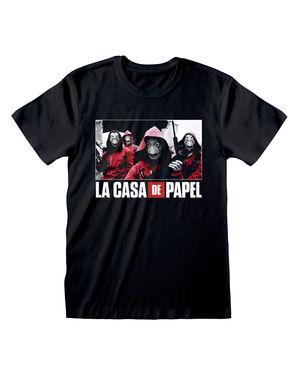 """Черна тениска на """"Хартиената къща"""" с групата за възрастни"""