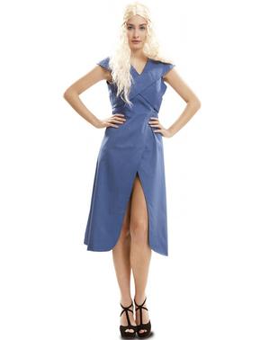 Fato de Rainha Dragão azul para mulher