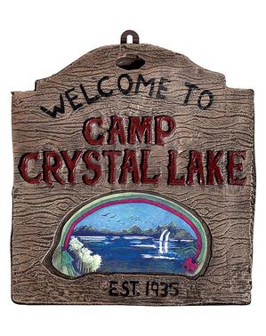 Sinal de Bem-vindos ao acampamento do Crystal Lake Sexta-feira 13