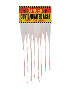 Danger Contaminated Area sign with curtain