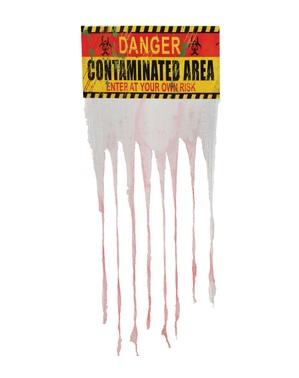 Опасност Замърсена зона знак със завеса