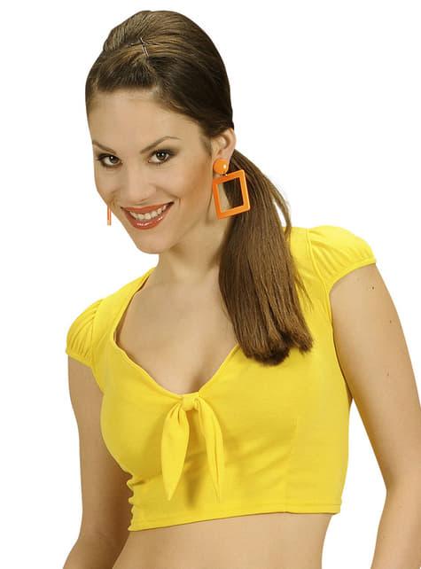 Top amarelo com laço para mulher