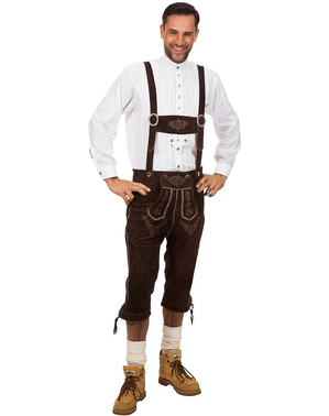 Deluxe tummanruskeat Lederhosen-housut miehille