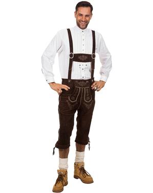 Pánské luxusní kožené kalhoty tmavě hnědé