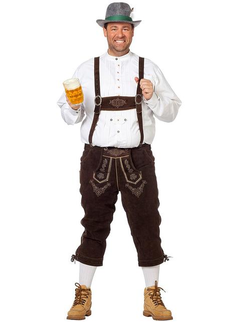 Bawarskie spodnie Lederhose ciemny brąz deluxe