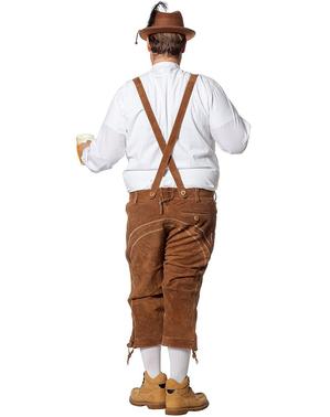 Pánské luxusní kožené kalhoty béžové