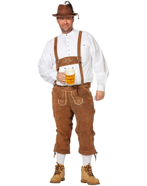 Deluxe beige lederhosen for men