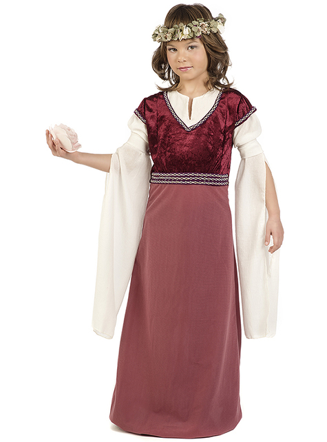 Medieval lady Rosalba costume for girls