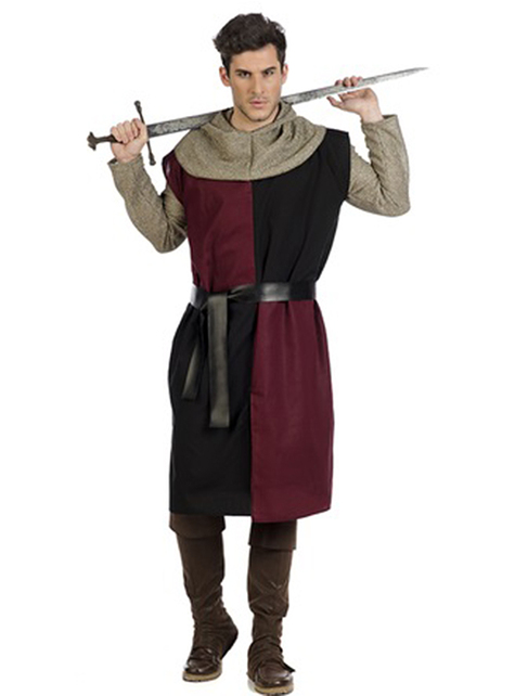 Sobreveste medieval bordeaux para homem