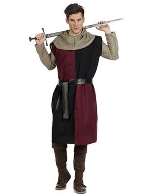 Surcoat abad pertengahan Burgundy untuk pria