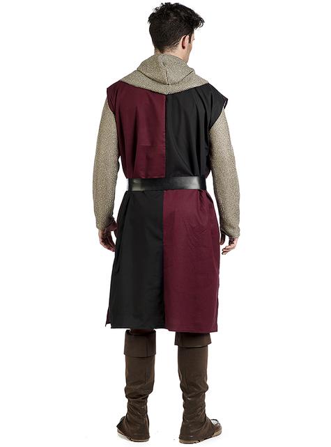 Burgundi Keskiajan päällystakki miehille
