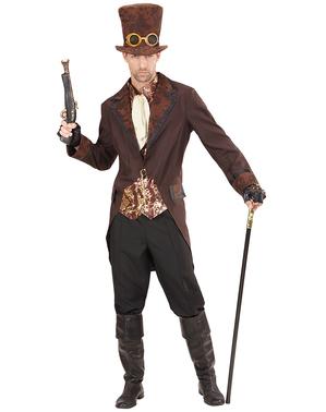 Fato de steampunk elegante castanho para homem