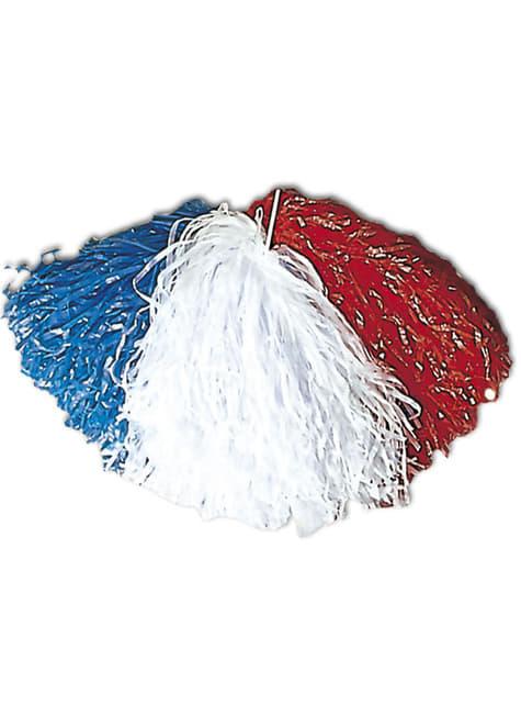 Blue, White and Red Pompom