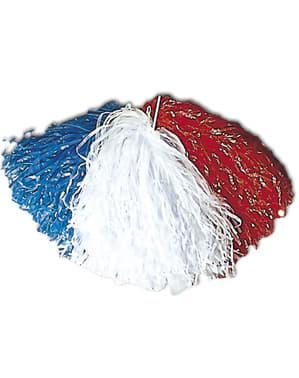 Pompom azul, branco e vermelho