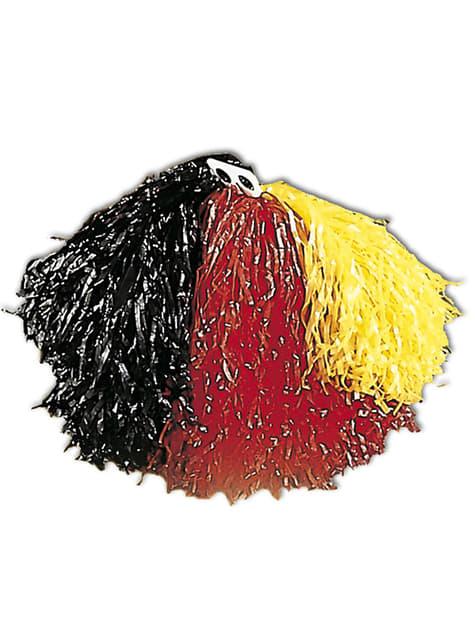 Pompón negro, rojo y amarillo