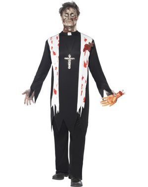 Déguisement de curé zombie