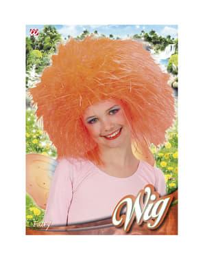 Peruca de fada cor de laranja para menina