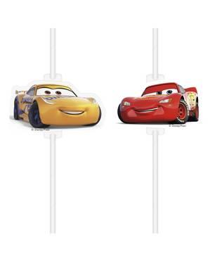 4 pajitas de papel de Cars 3
