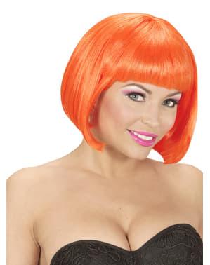 Pruik boblijn fluorescerend oranje voor vrouw