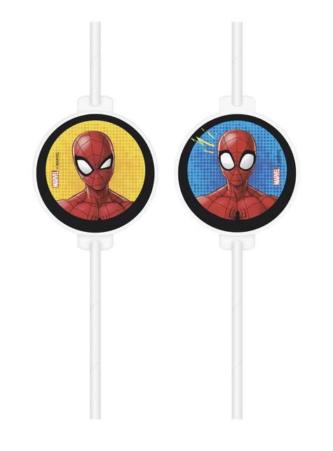 4 pajitas de papel de Spiderman