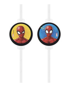 4 pailles en carton Spiderman