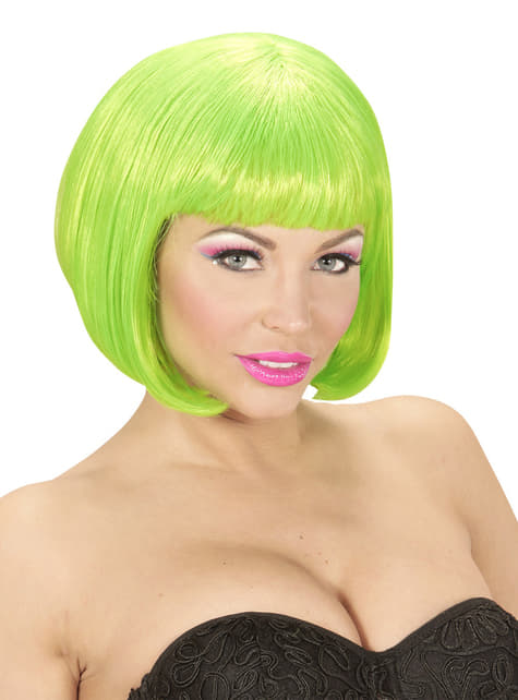 Peluca verde brillante para mujer