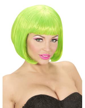 Błyszcząca zielona peruka damska