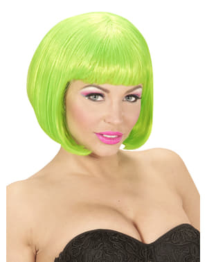 Pruik boblijn fluorescerend groen voor vrouw