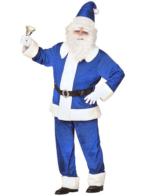 Déguisement Père Noël bleu traditionnel homme