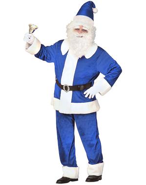 Costume da Babbo Natale azzurro tradizionale per uomo
