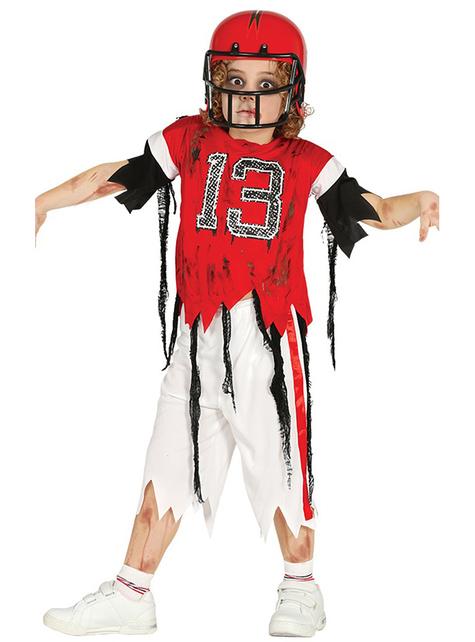 Fato de quarterback zombie 13 para menino