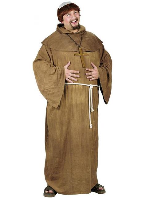 Disfraz de monje medieval para hombre talla grande