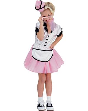 Kellnerin der 50er Jahre Kostüm für Mädchen