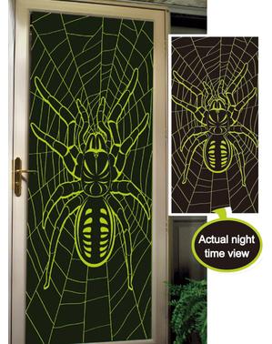 Glow-in-the-dark tarantula door decoration