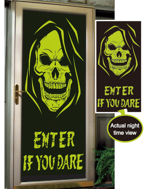Decoração para porta Enter if you dare fluorescente