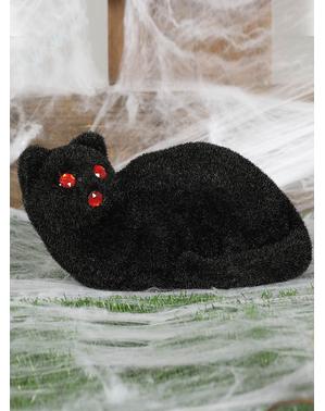 Figurine décorative chat noir aux yeux rouges