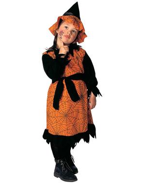 少女のオレンジ色のクモ魔女衣装